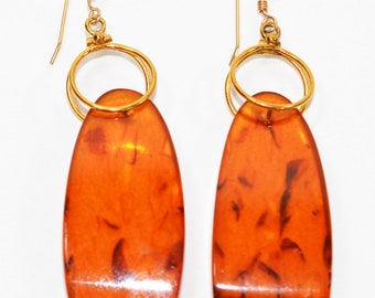 Amber Gemstone 14kt Yellow Gold Large Dangle Drop Statement Women's Earrings