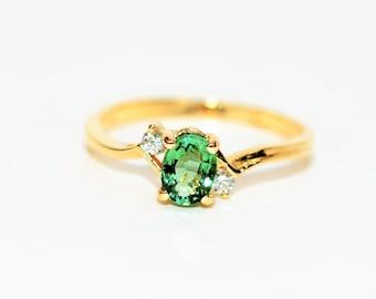 Paraiba Tourmaline & Diamond .53tcw 14kt Yellow Gold Fine Gemstone Women's Ring
