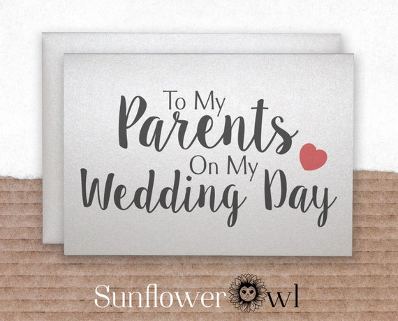 To My Parents On My Wedding Day Wedding Thank You Card Parents Etsy