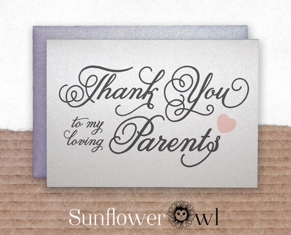 Thank You To My Loving Parents Thank You Card For Parents Etsy