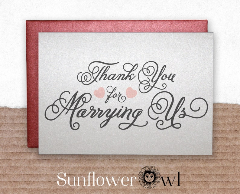 Thank You For Marrying Us Gift For Wedding Officiant Wedding Etsy