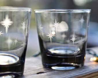 Vintage Smoked Lowball Glasses with Modern Star Design - Set of 2