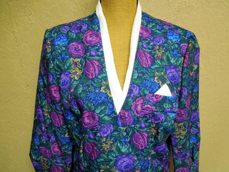 VINTAGE Classic Apparel Inc Vintage USA Style  Floral Blouse  Blazer  1980s.{H1-243#00921}