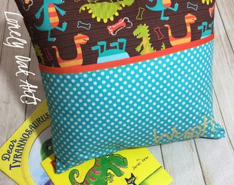 Children's Reading Pillow - Personalized Pocket Cushion Pocket - Dinosaur Pillow - Book Lovers Gift - Travel Pillow - Kids Camping Pillow