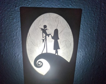 Nightmare Before Christmas inspired Night Light (Jack and Sally on the hill)