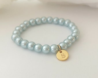 Personalized Initial Pearl Bracelet Flower Girl Gift Glacier Blue Glass Pearl Custom Jewelry Bridesmaid Gift Mother Daughter Jewelry-B09