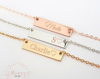 11eeebc297f Small Personalized Bar Name Necklace Initial Date Flower Girl Gift Kids  Jewelry Bridesmaid Gift Sister Necklace Customized Necklace -H25