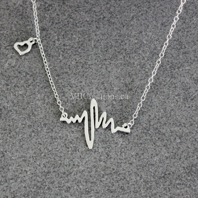 Heart Necklace Heartbeat Necklace Heart Jewelry Cardiogram Nurse Necklace Silver Chain Doctor Gift Doctor necklace Gift