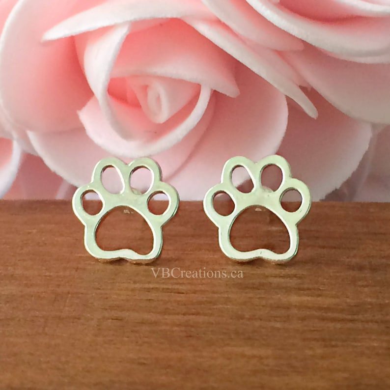 Paws Jewelry Paw Sister Gift Dog Paws Earrings Silver Animal Jewelry Mother Gift Dog Jewelry Dog Earrings Animal Earrings