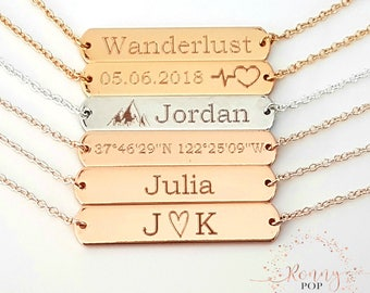 Personalized Gift - Custom Necklace - Name Plate - Bar Necklace - Coordinates - Graduation Gift - Engraved Necklace - Sister Gift - BFF H35