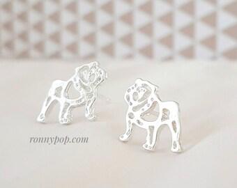 Bulldog Earrings - Bulldog Jewelry - Dog Earrings - Dog Jewelry - Dog Lovers - Silver - Gold - Animal - Christmas Gift - Best Friend Gift