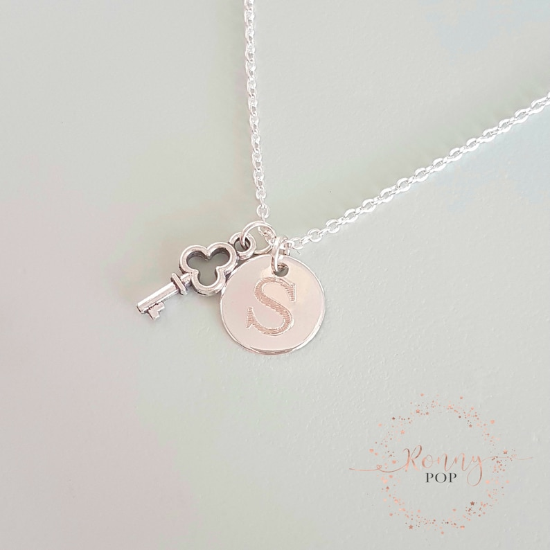 D12 Custom Necklace Initial Disc Engraved Key Charm Personalized Gift Disc Necklace Sister Gift Key Necklace Initial Jewelry