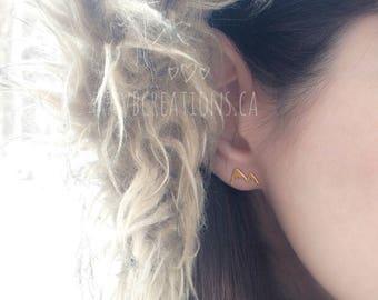 Mountain Stud Earrings - Ski Earrings - Dainty Earrings - Christmas Gift - Sister Gift - Friend Gift - Gift Jewelry - Silver - Gift Idea