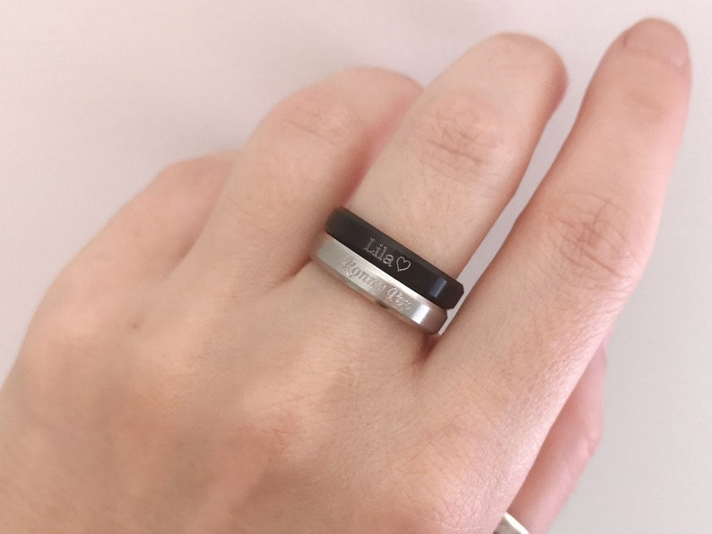 Mens Custom Ring Engraved Ring Unisex Ring Personalized Ring Name Ring Stainless Steel Gift for Women Graduation Ring Gift for Men BA101