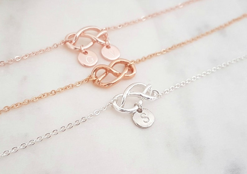 Bridesmaid Gift Initial Bracelet Disc Necklace Eternity Symbol Infinity Family Jewelry Mother/'s Day Gift Mother Gift Personalized Jewelry