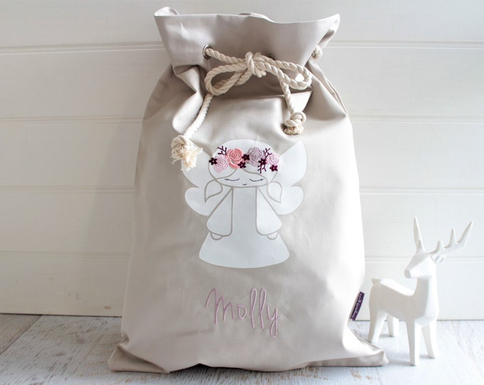 Featured listing image: Personalised Santa Sack Angel with Flowers