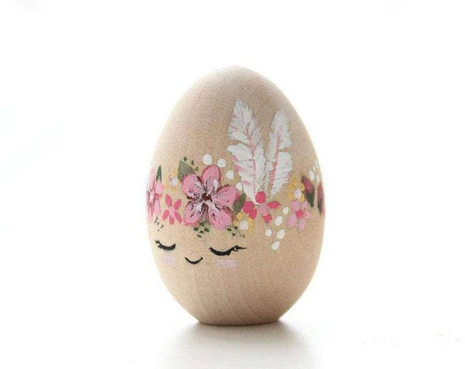 Featured listing image: Wooden Easter Egg Girls feathers, hand painted easter egg