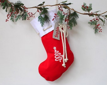 Personalised Christmas Stocking in red with Christmas Tree,Christmas Decor, Santa Stocking, Christmas Decoration,