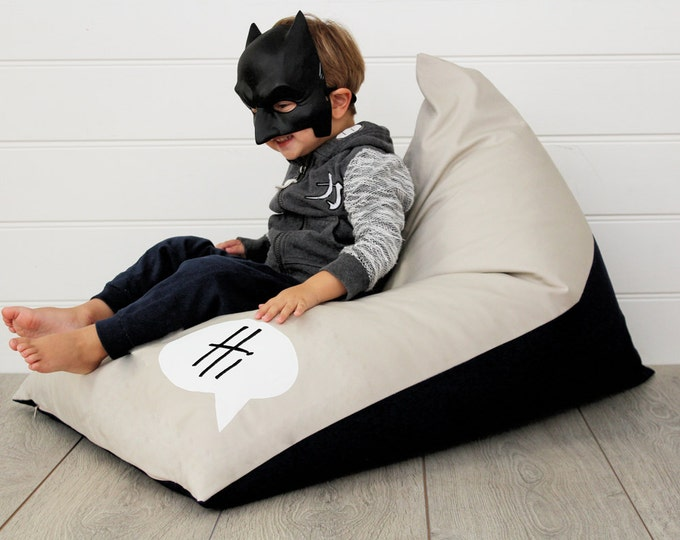 Featured listing image: Personalised Kids Bean Bag Monochrome