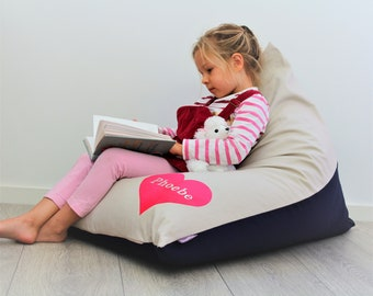 Personalised Kids Bean Bag with Pink Heart, girls bean bag, girls chair, childs bean bag, kids furniture, kids cushion personalized