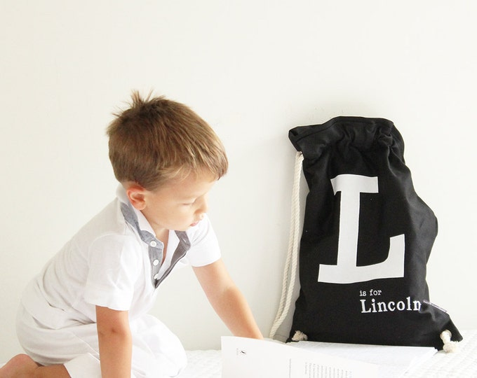 Featured listing image: Library bag Black with White letter