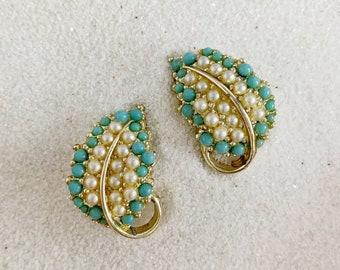 Vintage BSK Enamel Metal with Crystals Leaf Clips For Earrings Shoe or Scarf