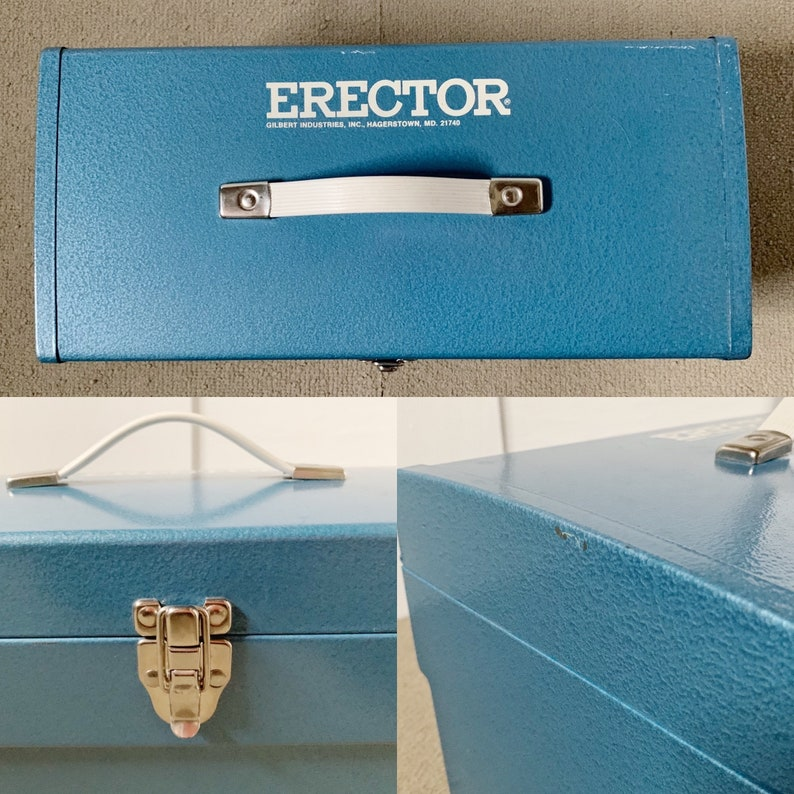 197175 Mark 60 Erector Set  Original Blue Metal Toolbox  Original Manuals  Over 325 Pieces from Two Combined Sets  Collector Item