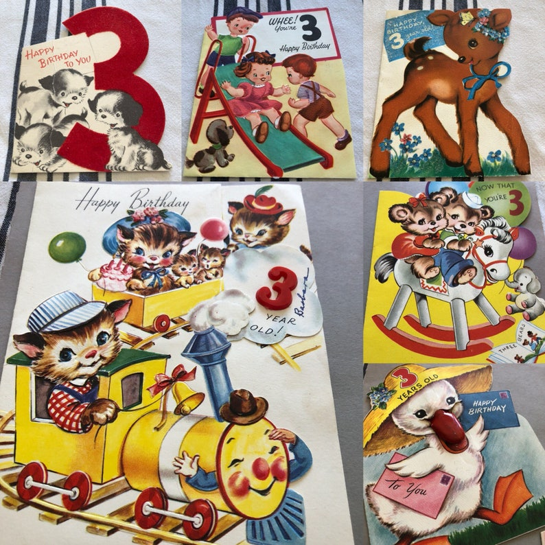3 Year Old Birthday Cards For Children 5 Available