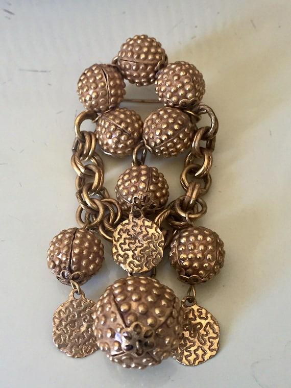 Brass Brooch from 30s 40s Bakelite era