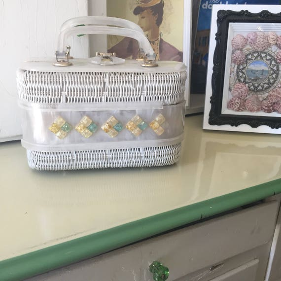 Lucite Basket Purse As Is 1950s-60s - image 2