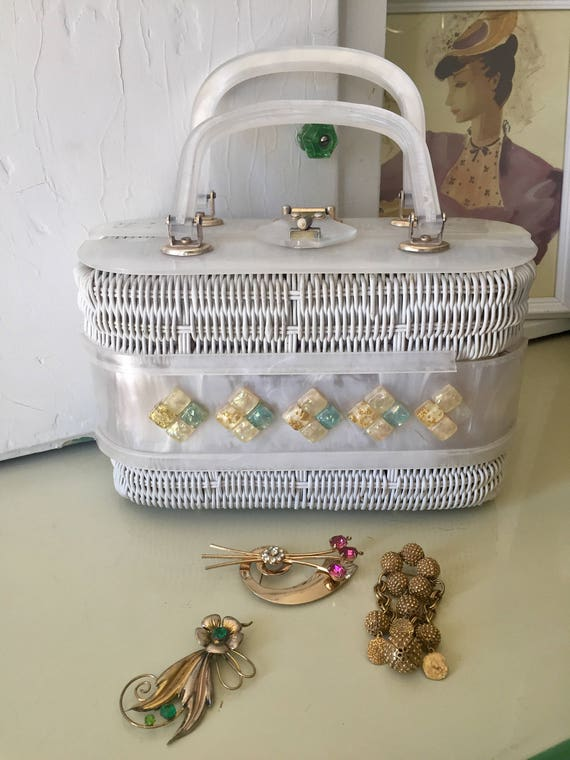Lucite Basket Purse As Is 1950s-60s