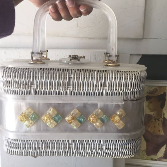 Lucite Basket Purse As Is 1950s-60s - image 5