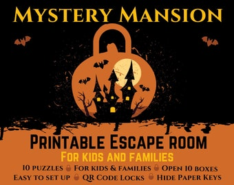 Halloween Escape Room for Kids | Mystery Mansion | Printable Escape Room, Halloween Party Game
