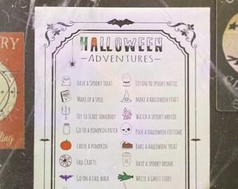 Halloween Printable, Halloween Activity Chart, Halloween Bucket List, Coloring Poster, Halloween Art, Huge Halloween Poster,Digital Download