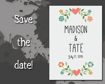 Wedding Save The Date Printable PDF Heart and Flowers Getting Married