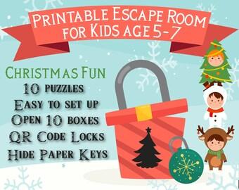 Christmas Escape Room for Kids age 5-7 | Christmas Fun | Printable Escape Room, QR Code Locks, Easy set up