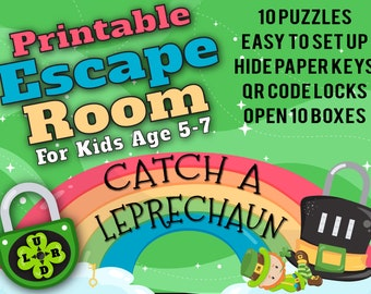 St. Patrick's Day Escape Room for Kids age 5-7 | Catch A Leprechaun | Printable Escape Room, QR Code Locks, Easy set up