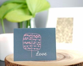 Love Greeting Card, Handmade, Blank inside, Black or white envelope,