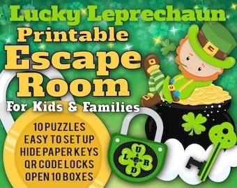 St. Patrick's Day Escape Room for Kids | Lucky Leprechaun | Printable Escape Room, QR Code Locks, Easy set up