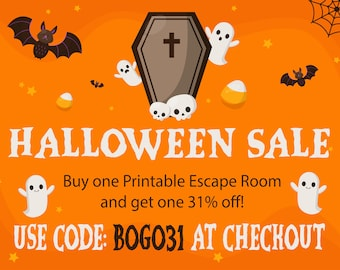 Buy one, Get one 31% off when you buy 2 printable escape rooms, Halloween Escape Room, Printable Escape Room, Kids Escape Room, Escape Room