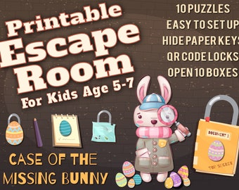 Easter Escape Room for Kids age 5-7 | The Case of the Missing Bunny | Printable Escape Room, QR Code Locks, Easy set up