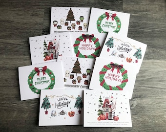 Christmas Cards 10 pack, Spooky Christmas, Gothic Christmas, Christmas Cards, Halloween, Funny Christmas Cards, B or W envelope