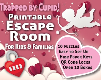 Valentines Escape Room for Kids | Trapped by Cupid | Printable Escape Room, QR Code Locks, Easy set up