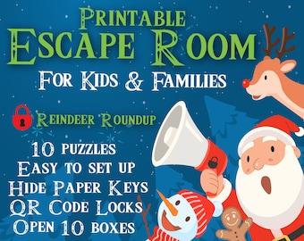 Christmas Escape Room for Kids | Reindeer Roundup | Printable Escape Room, QR Code Locks, Easy set up
