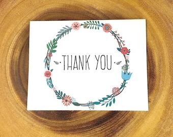 Thank You Card , Wreath, Handmade, Blank inside, Black or white envelope,
