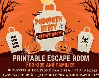 Halloween Escape Room,Kids escape room,Pumpkin Heist, Printable Escape Room,Halloween Party activity,party activities, halloween party, kids