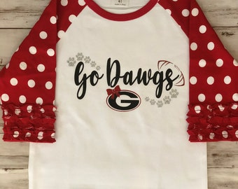 7cb1bcd2023 Go Dawgs Tshirt * Georgia Bulldogs * Girls Youth or Toddler Raglan *  Childrens Youth T-shirt * Football Team Shirt * Girls UGA Tshirt