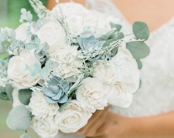 White & Dusty Blue - Wooden Flowers -  Sola Flower Bouquet - Wedding Bouquet - Dusty Blue Succulents - Faux Flower Bouquet