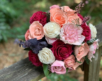 Burgundy, Bellini, Pink and Natural White Wood - Custom Wedding Bouquet Made to Order - Bridesmaid Bridal Bouquet - Wedding Flowers