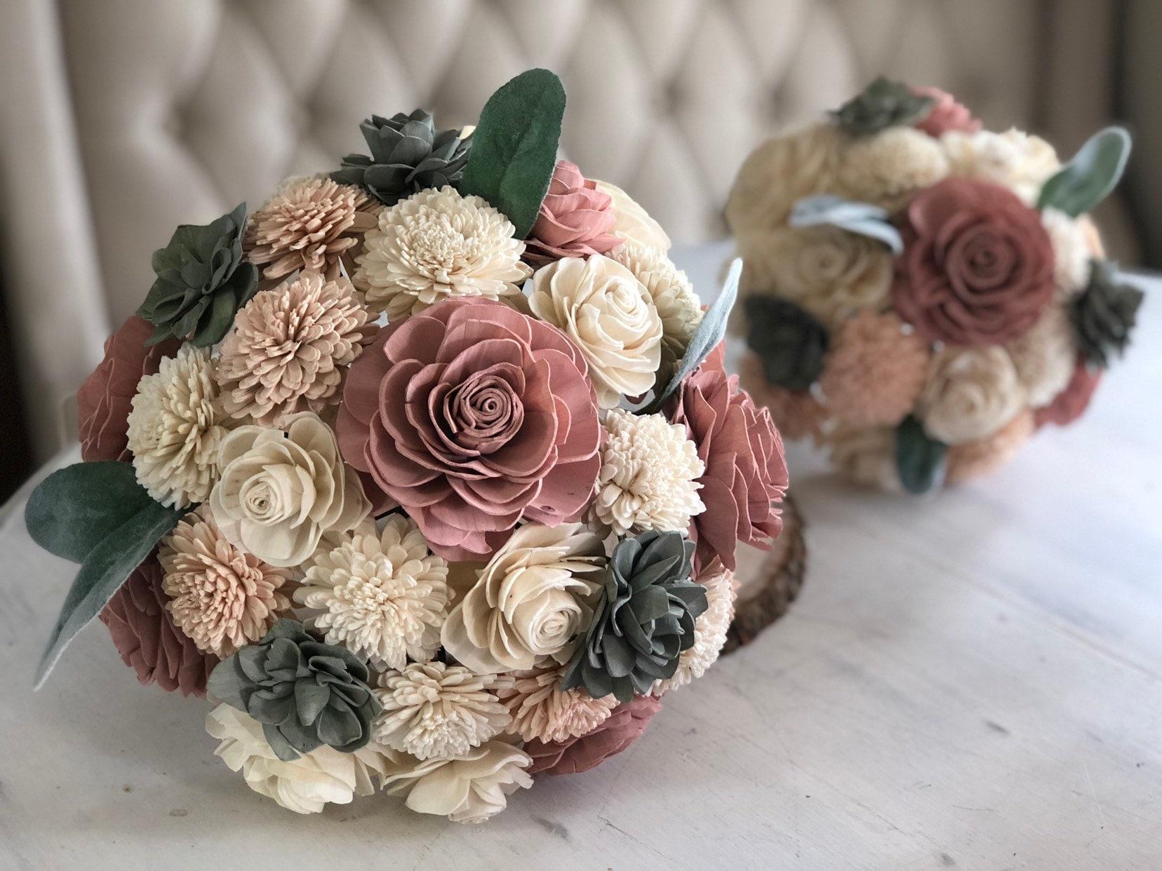 Soft Succulent Bouquet Wooden Flowers Blush Succulent Etsy